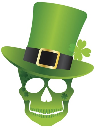 st  patricks day: St Patricks Day Green Irish Skull with Leprechaun Hat Illustration Isolated on White Background