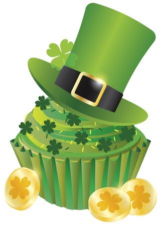 セント ・ パトリックス ・ デー アイルランド レプラコーン帽子カップケーキと白い背景で隔離の金貨図 4 つ葉のクローバー  イラスト・ベクター素材