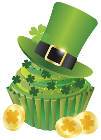 St Patricks Day Irish Leprechaun Hat with Four Leaf Clover on Cupcake and Gold Coins Illustration Isolated on White Background Vector