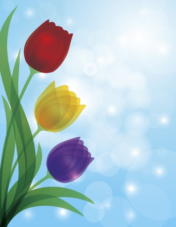 violet red: Colorful Tulips Bouquet Flowers for Mothers Day or Easter Illustration on Blue Sky Bokeh Background
