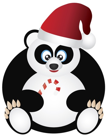 greeting season: Christmas Panda Sitting with Santa Hat and Candy Cane Illustration Isolated on White Background