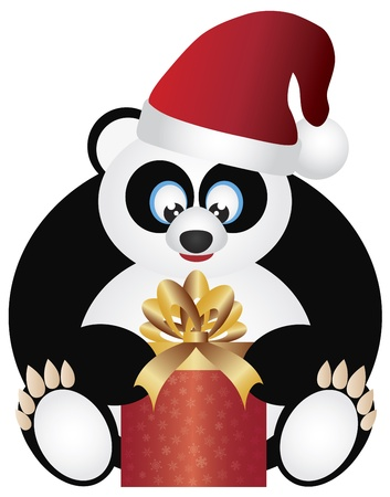 Christmas Panda Sitting with Santa Hat Opening Presents Illustration Isolated on White Background Stock Vector - 16584292