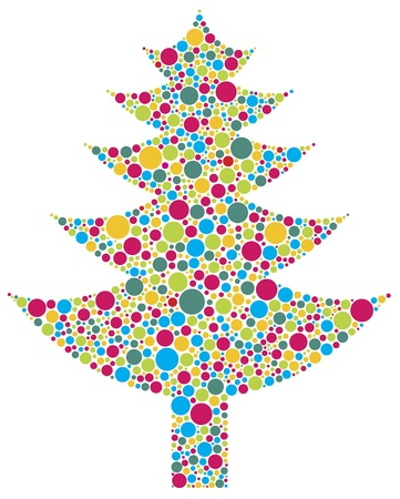 bright: Christmas Tree Silhouette with Bright Colorful Polka Dots Pattern Illustration Isolated on White Background