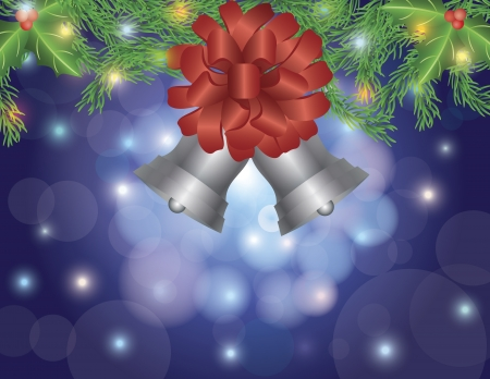 Christmas Silver Bells with Red Bow Hanging on Garland with Lights on Bokeh Circles and Blurred Background Illustration Stock Vector - 16607917