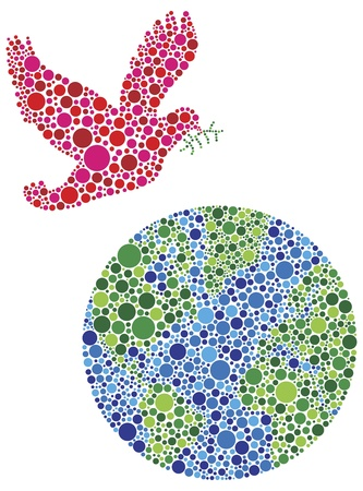 religious celebration: Christmas Peace on Earth Dove Silhouettes Filled with Dots Pattern Illustration Isolated on White Background