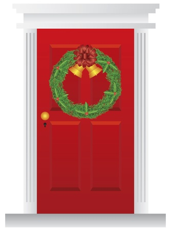 Christmas Wreath with Golden Bells Hanging on Red Door with Trimmings Illustration Vector