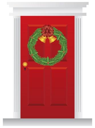 Kroon van Kerstmis met Gouden Klokken Opknoping op Rode Deur met Trimmings Illustratie Stock Illustratie