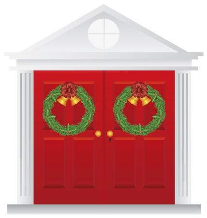 Corona de Navidad con campanas de oro que cuelga en la puerta roja doble con ilustración Pasamanería