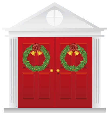 Christmas Wreath with Golden Bells Hanging on Double Red Door with Trimmings Illustration