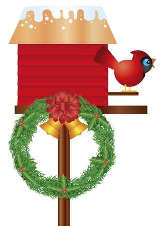 Christmas Birdhouse with Cardinal Bird and Wreath Bells Holly Berries Winter Decoration Illustration Vector
