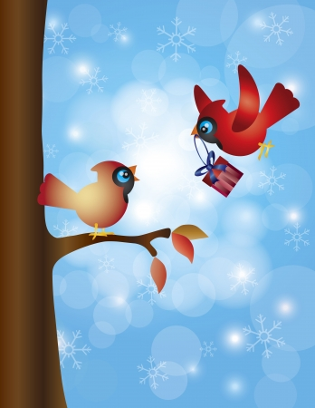 bringing: Cardinal Male Bringing Christmas Gift for Female Perched on a Tree Branch with Snowflakes Background Illustration