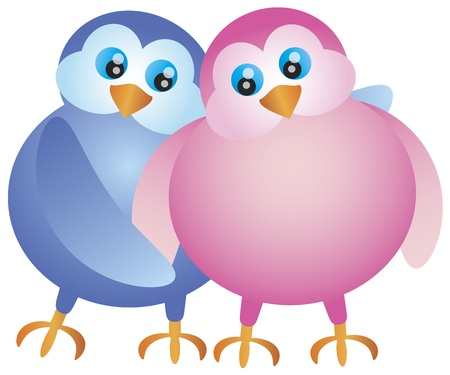 lovebirds: Valentines Day Pair of Lovebirds Hugging Illustration Isolated on White Background