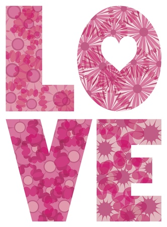 LOVE Alphabet Letters Outline with Flowers Pattern Illustration Isolated on White Background Vector