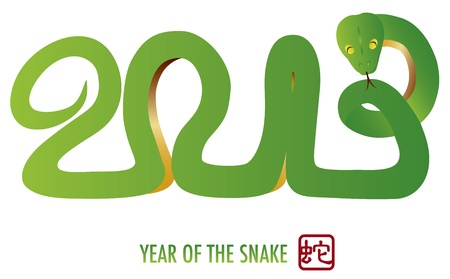 Chinese Lunar New Year Green Snake Silhouette Forming 2013 with Chinese Stamp with Snake Symbol Illustration