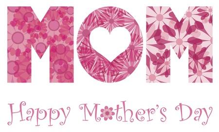 흰색 배경에 고립 된 꽃 패턴 그림의 MOM 알파벳 문자 개요와 해피 어머니의 날