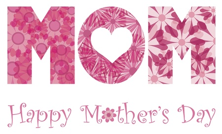 mothers day background: Felice Festa della mamma con lettere alfabeto MOM Outline a Floral Patterns illustrazione isolato su sfondo bianco