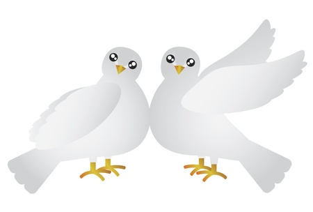Pair of Doves Lovebird for Valentines Day Anniversary or Wedding Illustration Isolated on White Background