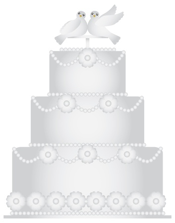 Three Tier Wedding Cake with Pair of Doves Caketopper and Floral Decoration Illustration Isolated on White Background Vector