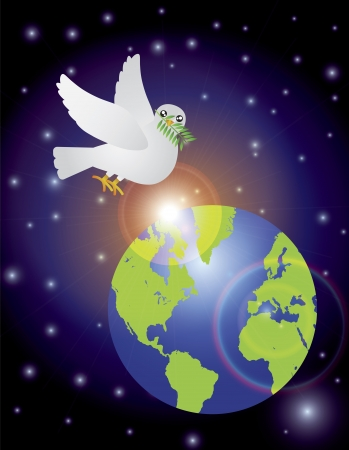 Christmas Peace Dove Carrying Olive Leaves Sprig Flying Over Earth Night Scene Isolated on White Background Illustration Vector