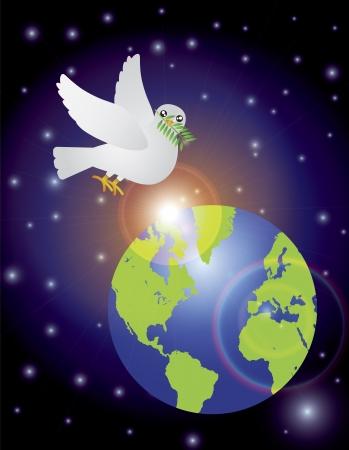 paloma caricatura: Navidad Paloma de la paz que lleva Sprig hojas de olivo Flying Over Night Scene Tierra aislada en la ilustración de fondo blanco Vectores