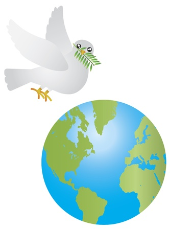 Peace Dove Carrying Olive Leaves Twig Flying Over Earth Isolated on White Background Illustration