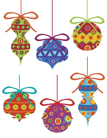 christmas motif: Christmas Tree Ornament with Bright Colorful Tribal Motifs Illustration Isolated on White Background