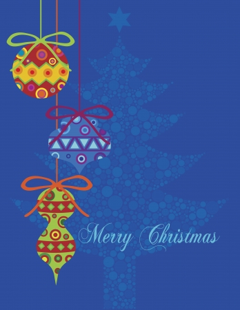 Christmas Ornaments with Polka Dots Christmas Tree on Blue Background Illustration Vector