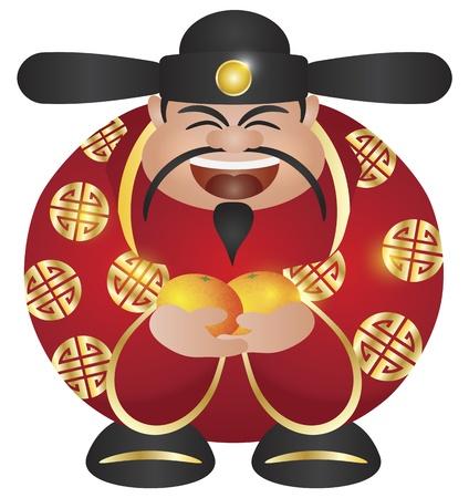 Gelukkig Chinees Lunar New Year Welvaart Geld God met Mandarin Oranges Illustratie Geà ¯ soleerd op witte achtergrond