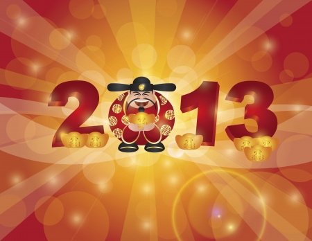 Chinese Lunar New Year 2013 Money Prosperity God with Bringing in Wealth and Fortune Text on Gold Bar Bokeh Background Illustration Vector