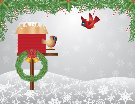 Cardinal Pair on Birdhouse with Garland Bells Wreath and Candy Cane on Snowflakes Background Illustration Vector