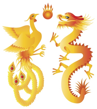 mythical phoenix bird: Dragon and Phoenix Symbols for Chinese Wedding  with Flaming Ball Illustration Isolated on White Background