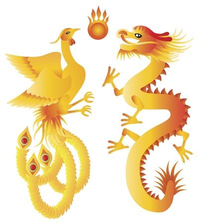 Dragon y Phoenix Símbolos de boda chino con la ilustración de bola llameante aislada en el fondo blanco Foto de archivo - 16766335