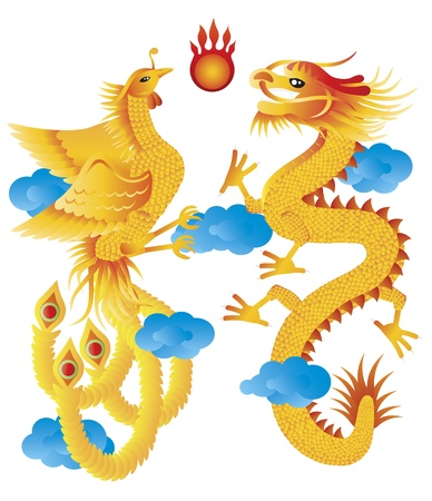 mythical phoenix bird: Dragon and Phoenix Symbols for Chinese Wedding with Flaming Ball Blue Clouds Illustration Isolated on White Background