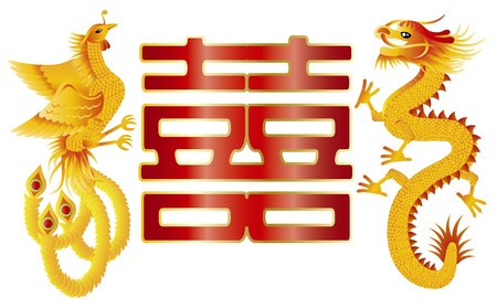 chinese phoenix: Dragon and Phoenix Symbols for Chinese Wedding with Double Happiness Text Calligraphy Illustration