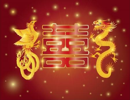 Dragon y Phoenix Símbolos de boda chino con la ilustración de la caligrafía Double Happiness Texto sobre fondo rojo
