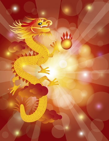 Chinese Lunar New Year Dragon with Flaming Pearl on Clouds and Red Bokeh Background Illustration Vector