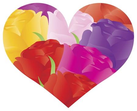 Kleurrijke rozen Boeket in het Hart Omtrek van vorm voor Valentijnsdag Verjaardag van het Huwelijk Moederdag illustratie op witte achtergrond