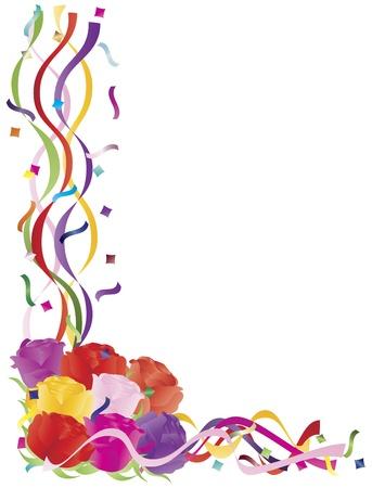 Kleurrijke rozen Boeket in Confetti Grens voor Valentijnsdag Verjaardag van het Huwelijk Moederdag illustratie op witte achtergrond