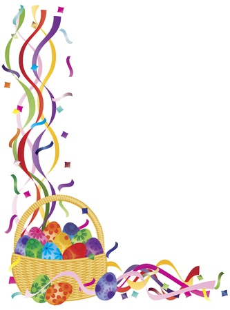 Colorful Happy Easter Day Eggs Basket in Confetti Border Illustration on White Background Vector