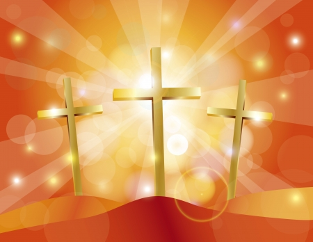 good friday: Happy Easter Day Good Friday Gold Cross on Sun Rays on Sky Blue Bokeh Circles and Blurred Background Illustration