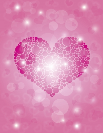 Valentines Day Hearts Polka Dots on Bokeh Background Illustration Stock Vector - 16881375