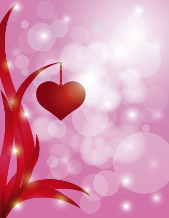 borders abstract: Red Heart Hanging on Swirly Leaf on Sparkling Bokeh Pink Background for Valentines Day Wedding Anniversary Illustration Illustration