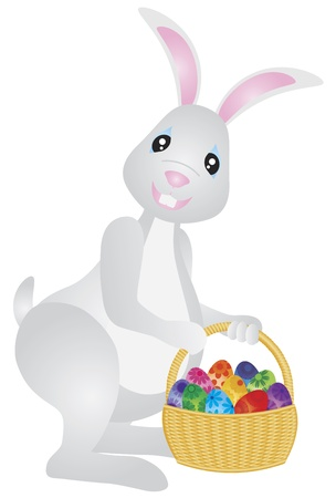 Happy Easter Day Bunny Rabbit with Basket of Colorful Eggs Illustration Isolated on White Background Stock Vector - 16881373
