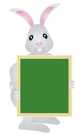Happy Easter Day Bunny Rabbit Holding Blank Sign Board Illustration Isolated on White Background Stock Vector - 16881377