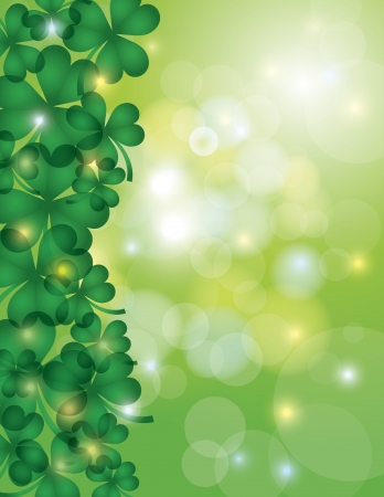st  patrick's: St Patricks Day Shamrock Leaves Border with Sparkles and Bokeh Background Illustration Illustration