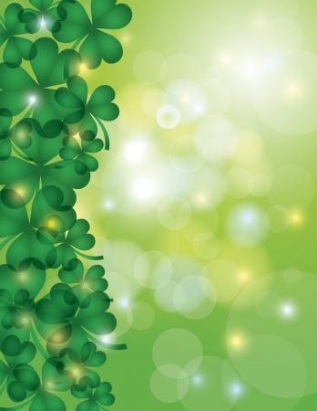 st patricks day: St Patricks Day Shamrock Leaves Border with Sparkles and Bokeh Background Illustration Illustration