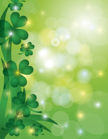 St Patricks Day Shamrock Leaves with Sparkles and Bokeh Background Illustration Vector