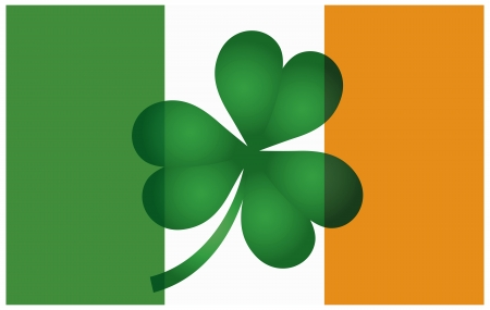 ireland flag: Ireland Flag with Shamrock Isolated on White Background Illustration