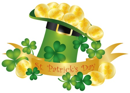 Happy St Patricks Day Banner with Leprechaun Hat Gold Coins and Shamrock Leaves Illustration Stock Vector - 16917124