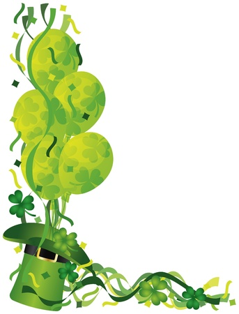 Happy St Patricks Day Leprechaun Hat Balloons with Shamrock and Confetti Border Illustration